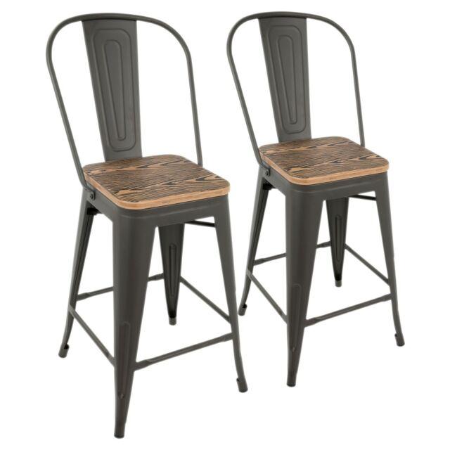 Tremendous Oregon High Back Counter Stools In Grey Metal Natural Wood Set Of 2 Uwap Interior Chair Design Uwaporg