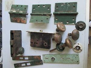 VINTAGE CAST IRON & BRASS FRONT DOOR LOCK, AND HARDWARE | eBay