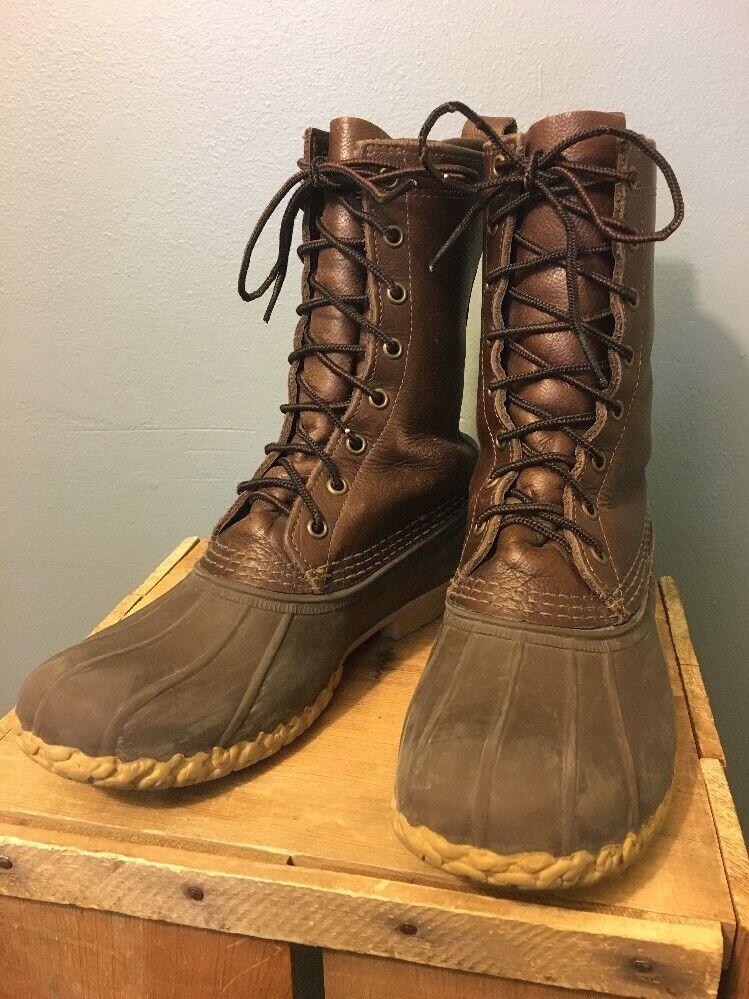 Ll Bean caza de pato 9  Zapatos botas Hombres 8 M Lluvia Lodo Goretex los trazadores de líneas Cuero Usa