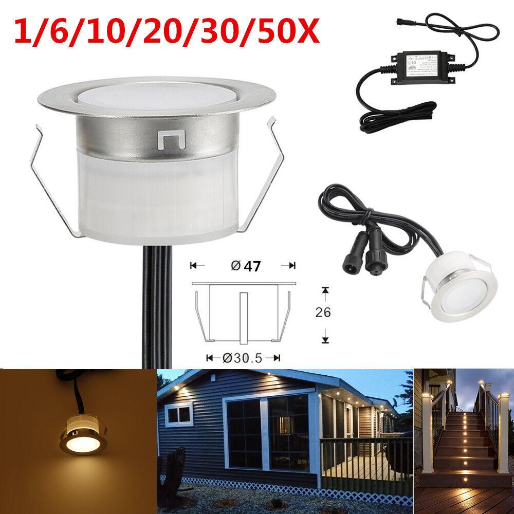 1-50er x 47mm warmweiß LED Bodenstrahler Einbauleuchte Außen Einbauspots Lampe