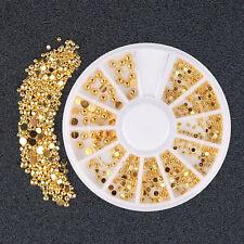 DIY Gold Nagel Kunst Glitzersteine 3D Straßsteine Nageldesign Nail Art Deko
