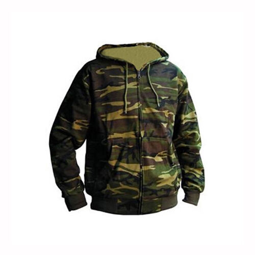 Mens Zip Hoodie Camo Camouflage Green Army S M L XL XXL