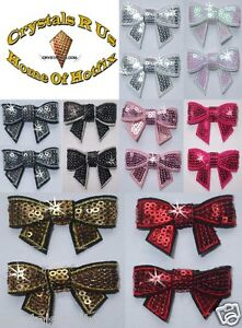 Image Is Loading Fabric Sequin Bow Tie Iron On Gem Bling