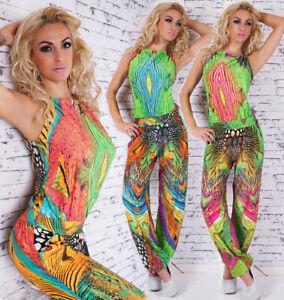 Mujer-Mono-Desenfadado-de-Verano-Pantalon-Strand-Fiesta-Traje-Colorido-34-40
