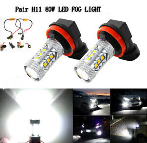 2pcs H11 High Power LED White CREE Fog Light Daytime Bulb For VW AUDI Error Free