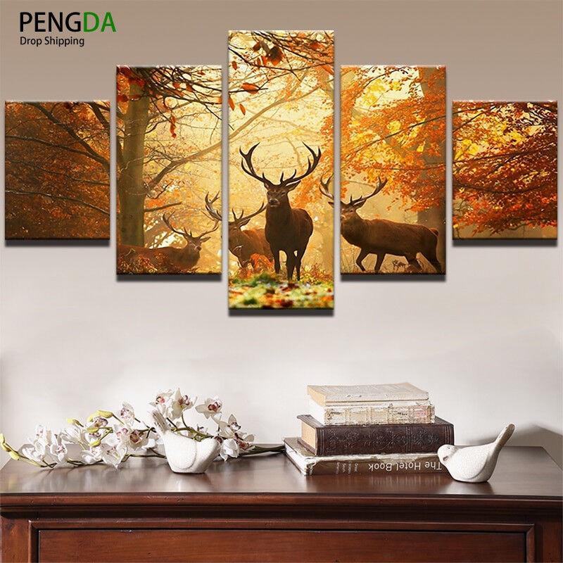 Deer Autumn Forest Sunset Wildlife 5 Panel Canvas Print Wall Art Home Decor