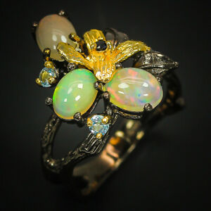 Luxury-jewelry-Gold-Natural-Gemstone-Opal-925-Sterling-Silver-Ring-RVS299
