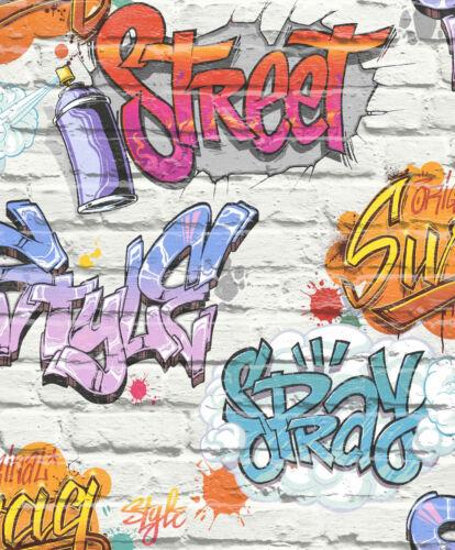 L17905 Love Your Walls UGEPA By Muriva Graffiti White Brick Wallpaper