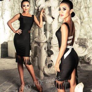Black Adult Dancewear Latin Dance Dress Cha Cha Rumba Samba Paso Double Ballroom