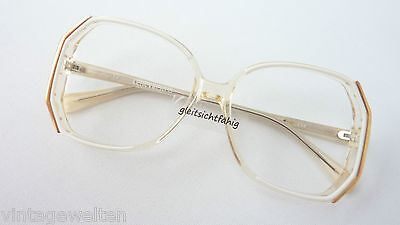 Brille Brillenfassung Damen Vintage 70s Weiß Transparent Gold Groß Grösse M Buy One Give One