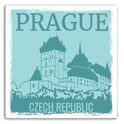 2 x 10cm Pink Prague Vinyl Stickers Czech Republic Fun Sticker Luggage #17797