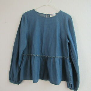 Universal-Thread-L-Top-Blouse-Chambray-Shirt-Peplum-Blue-Size-S-L-Womens