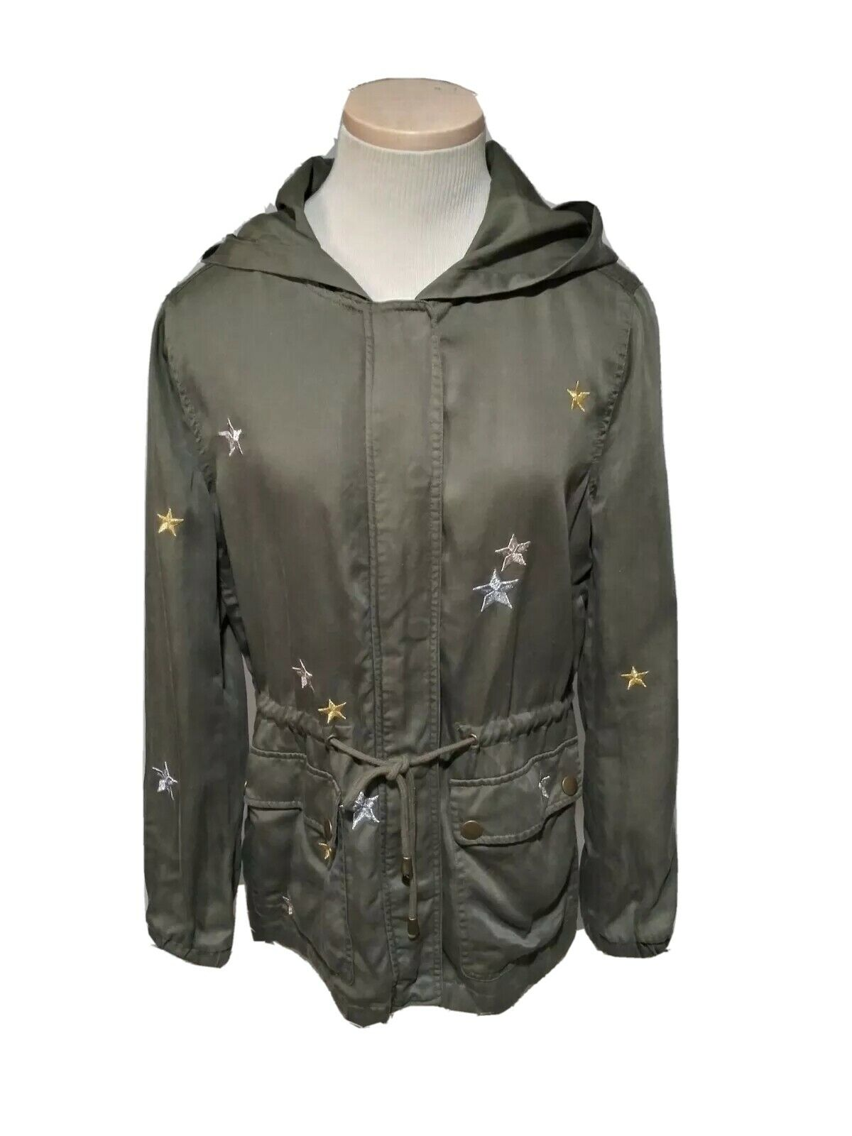 BAGATELLE Olive Green Field Jacket Embroided Sz S