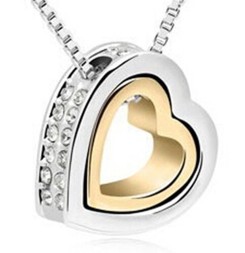 N16 GOLD /& SILVER ALLOY MEXICAN WHITE JEWELLED DOUBLE HEART SHAPE PENDANT