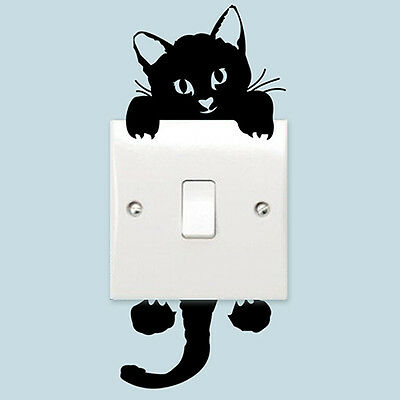 Admiring Tasteful Cat Switch Decal Vinyl Art Wall Sticker DIY Door Decal Decor