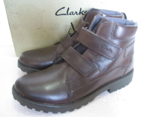 NEW CLARKS BOYS SOFT BROWN LEATHER ANKLE BOOTS SIZE 12 F /& 13 F
