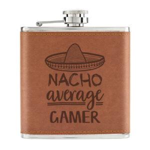Nacho-Moyenne-Joueur-170ml-Cuir-PU-Hip-Flasque-Fauve-Worlds-Best-Drole-Awesome