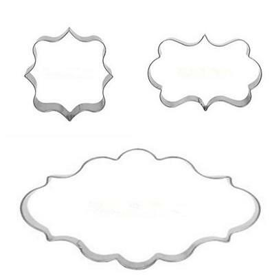 GO CA Plaque Cutter Cookie Frame Cake Oval Square Rectangle Stainless Steel Mold