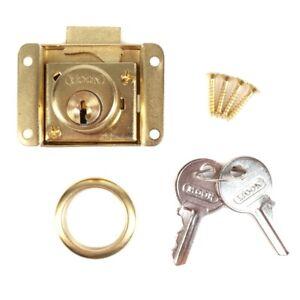 QUALITY BRASS DRAWER LOCK KIT +2 KEYS Cabinet Cupboard Door Office Desk Catch