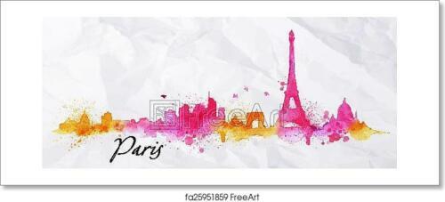 Silhouette Watercolor Paris  Art Print Home Decor Wall Art Poster