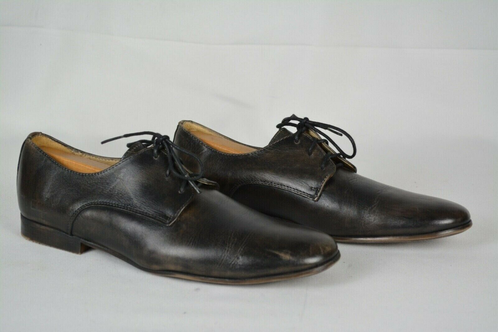 Bed Stu Hommes Newman derby cuir noir Pointure 10 Lacets Casual Oxford