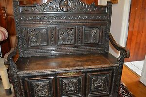 Antique-18th-Century-Oak-Flemish-Settle-Coffer-Hand-Carved-Decoration-c1720