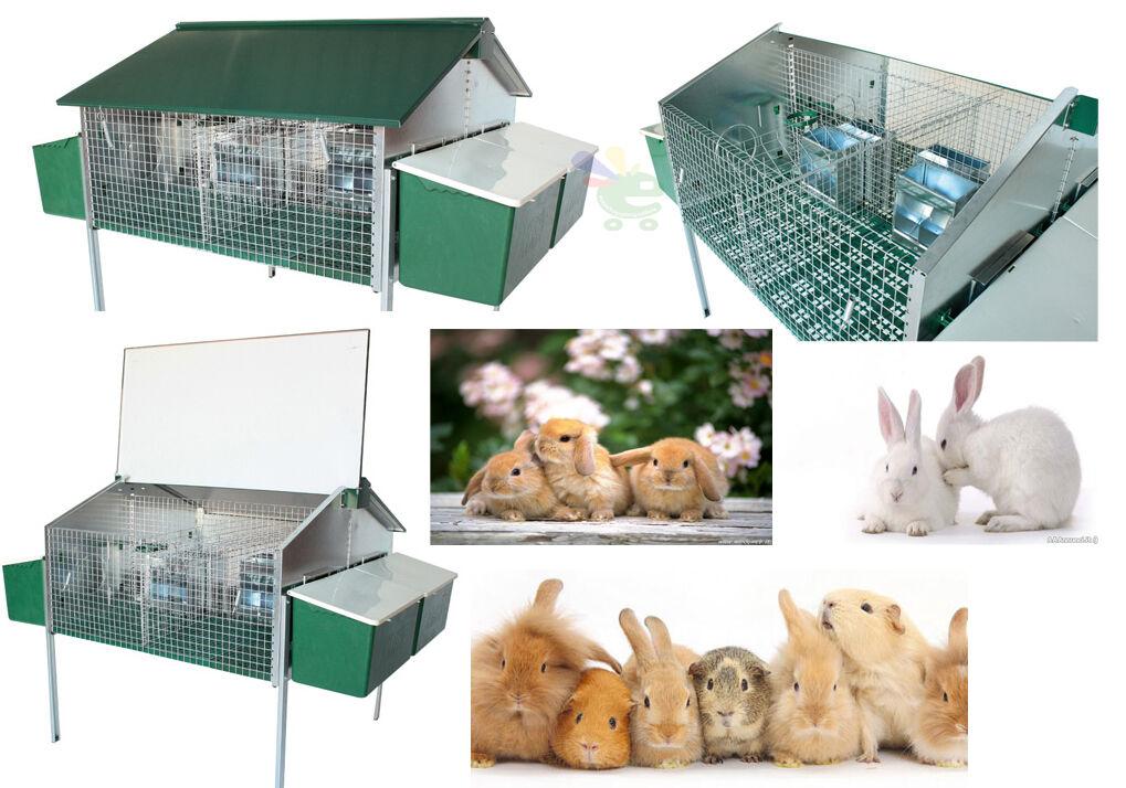 Gabbia mista per conigli da allevamento ed ingrasso con nidi per esterno verde
