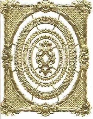 Antique or Victorian style decoupage scraps Gold Dresden Trims Frame