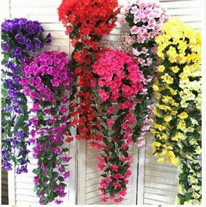 Us sale artificial hanging violet garland silk flowers plants home image is loading us sale artificial hanging violet garland silk flowers mightylinksfo