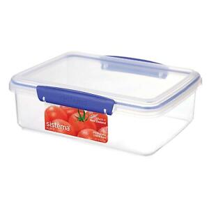 Details About Sistema KLIP IT Seal Food Storage Container 2 Litre, Clear U0026  Blue   Freezer Safe