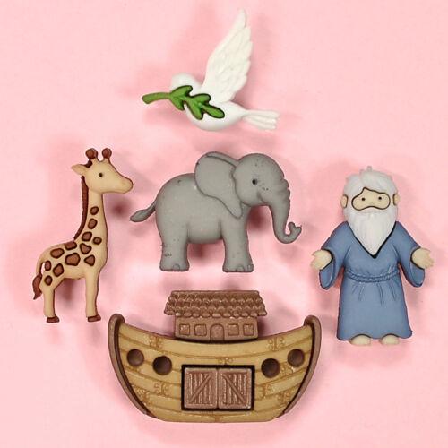 DRESS IT UP boutons Arche de Noé 8975-Éléphant Girafe Dove