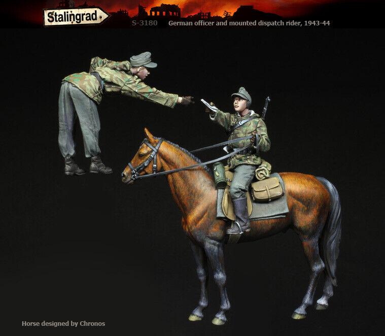 1 35 e tyska Officer & Mounted Dispatch Rider 1943-1944 (2 siffror & 1 häst)
