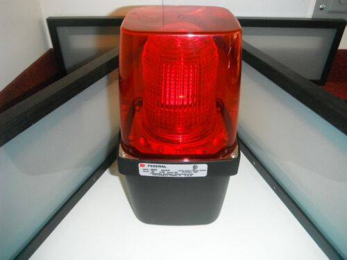 FEDERAL SIGNAL 400ST RED INDUSTRIAL STROBE LIGHT OK4 VIBRATONE ALARM! BRIGHT !