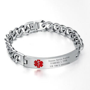 Men-Medical-Alert-ID-Chain-Bracelet-Wristband-DIY-Free-Engraving-Stainless-Steel