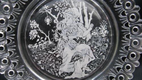 1889 Antique Victorian Pressed Glass Egg /& Dart Miss Muffet Nursery Rhyme Plate