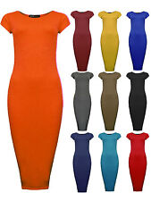 Ladies Midi Dress New Womens Short Sleeve Bodycon Plain Dresses UK 8 10 12 14