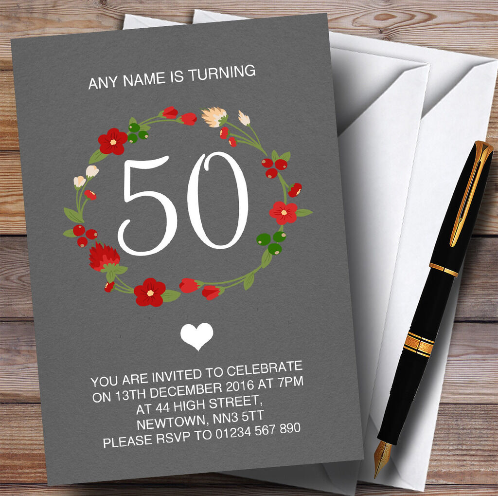 rojo Floral Corona gris Rústico 50th Personalizado Invitaciones Fiesta De Cumpleaños