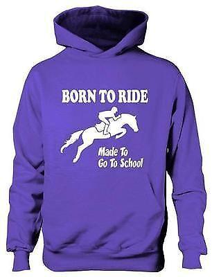 Born To Ride Fabriqué Aller À Ecole Filles Équitation Capuche Pony Âge 5-13