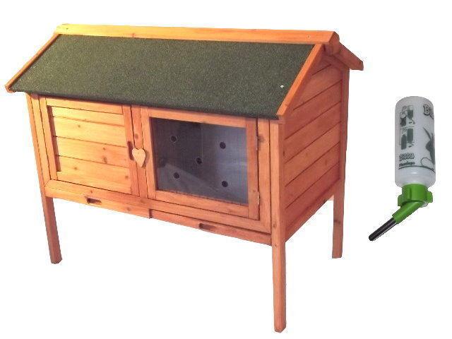 Conigliera Conigli Piccoli Animali Gabbia in legno circa 98x64x85cm + trinkfkasche