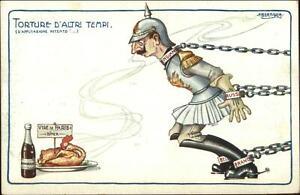 WWI-Anti-German-Propaganda-BERTIGLIA-Chained-Kaiser-Tempted-by-Food-amp-Wine
