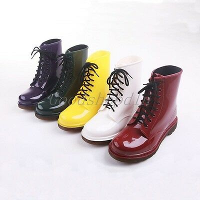 Top Women's Rain Boots Fashion Ankle Boots Lace-Up Rubber Rainboots Size 35-40