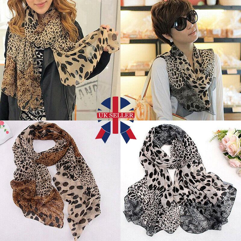 Large Ladies Fashion Animal Leopard Print Wraps Scarf Chiffon Shawl Stole Women