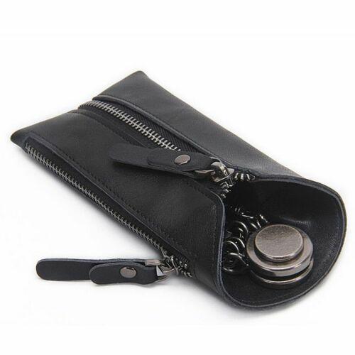 Genuine Leather Key Wallet Vintage Zipper Keys Holder Keychain Organizer Case