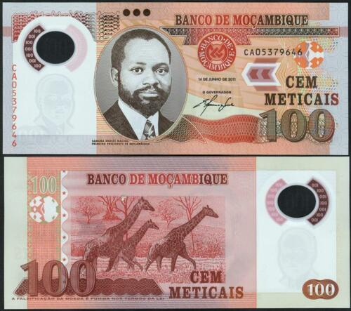 UNC MOZAMBIQUE 100 Meticais 2011 Polymer Pick 151