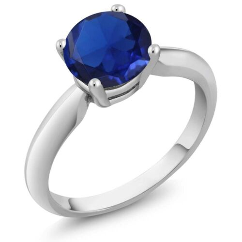 1.67 Ct Round Blue Simulated Sapphire 925 Sterling Silver Ring