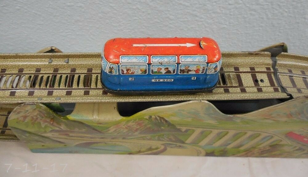 Vintage Estaño Wind Up Us Zone Germany Cochero de montaña Express
