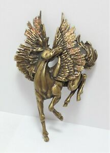 Pegasus-Flying-Horse-JJ-Brooch-Pin-Bronze-Tone-Glitter-Wings-Mythical-Vtg-Figure