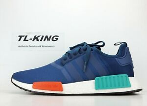 promo code 758b8 bfa47 Details about Adidas NMD R1 Boost Blue Night Energy Orange G26510 Msrp $130  FK