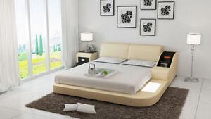 Détails sur Rembourrage Design de Luxe Lit Lits Cuir Moderne Chambre à  Coucher