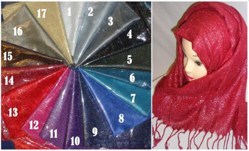 New Eid Plain Color Shiny Shimmer Glitter Sparkly Scarf Hijab Shawl Wrap Wedding